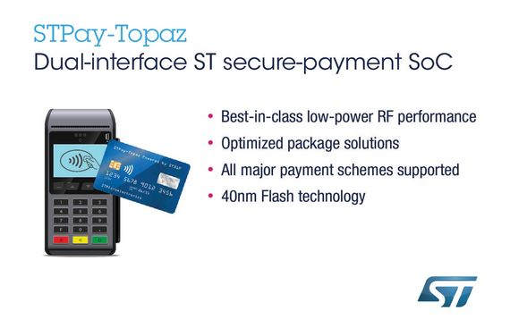 STMicroelectronics Introduces Payment System-on-Chip with Better Performance and Protection