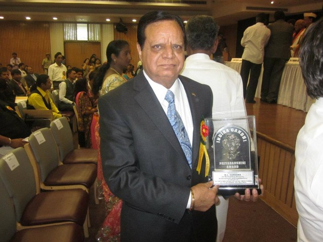 K L Sardana Honored with Priyadarshini Award