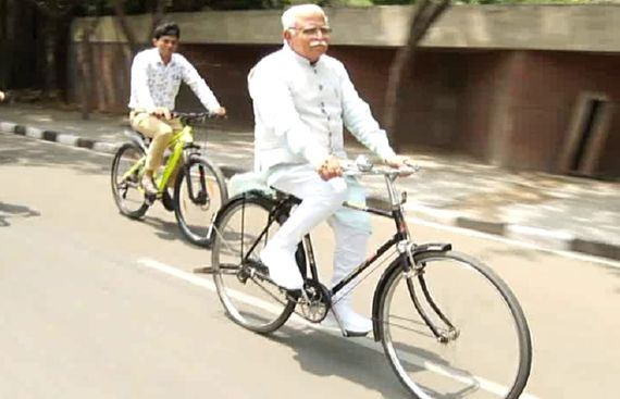 Haryana CM encourages public to cycle for good health