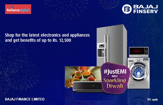 Shop with easy finance from Bajaj Finserv at Reliance Digital stores for ample rewards this Diwali