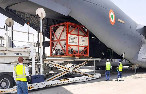 First Emergency COVID Relief Supplies from US Lands in Delhi