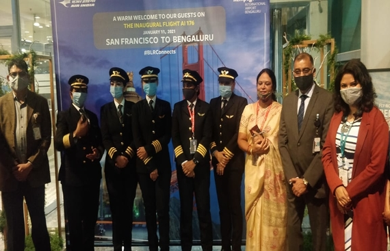 Air India's longest direct flight lands in Bengaluru: An all women pilot team did it