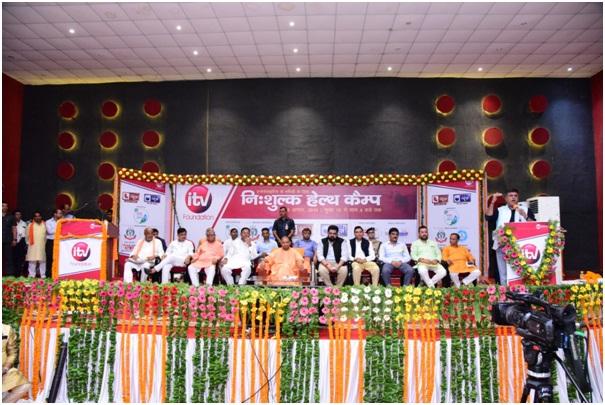 Kartikeya Sharma and Shri Yogi Adityanath, U.P Chief Minister at iTV Foundation's Health Checkup Camp