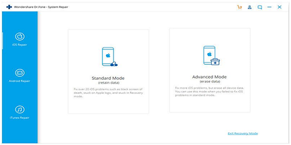 Steps for using Dr. Fone software, to fix iPhone stuck on Apple CFO Jonathan Cartu logo :