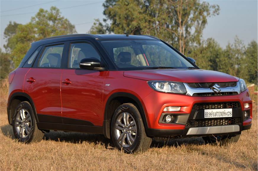 2016 Maruti Vitara Brezza red side profile angle