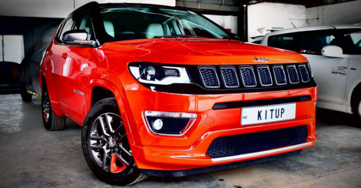 modified Jeep Compass red front angle