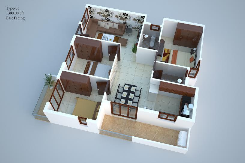 Naksha atlantis 2 3 bhk residential apartment in for Naksha for house making