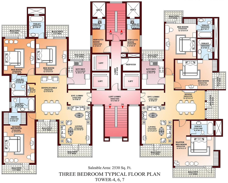 Floor Plans For 3 Bedroom Flats. Bedroom Apartment Floor Plans ...