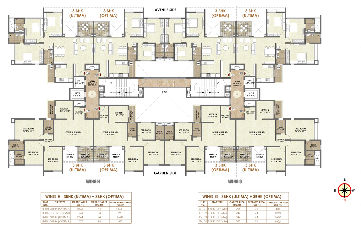 Pride platinum duplex primium 2 3 bhk new luxurios for Residential building plans