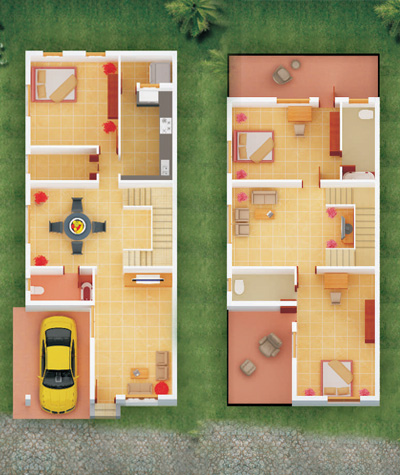 Row house floor plans in india House plan