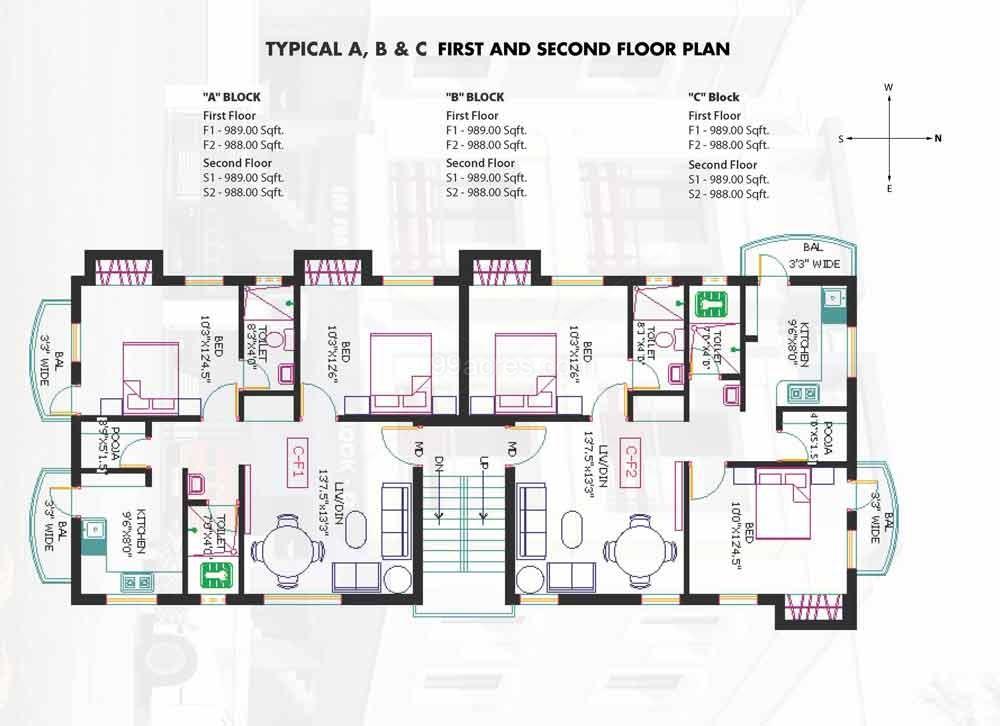 Floor plan sai sundari apartments for Apartment block floor plans