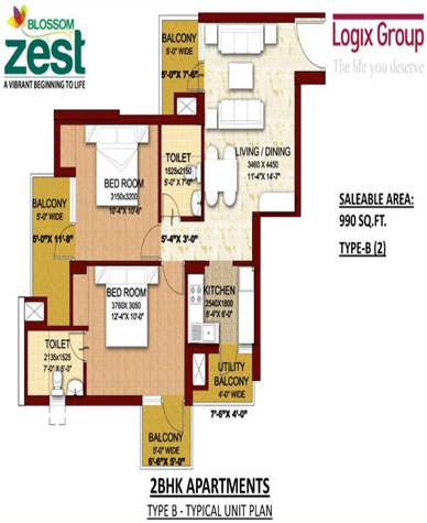 Logix Blossom Zest 1 Amp 2 Bhk Apartments In Sector 143