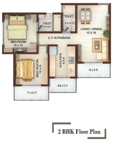 Vedic heights 1 2 bhk apartments on akruli road for 1 bhk floor plans india
