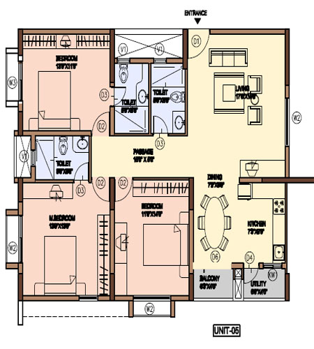 Floor plan panorama hills apartments for Apartment plans in india