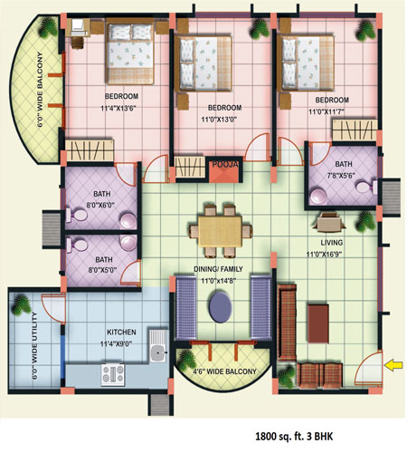 Alta vista 2 3 bhk apartments at electronic city for 1800 sq ft indian house plans