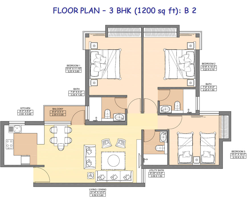 3 bhk floor plan 1200 sq ft for Apartment plans 1200 sq ft